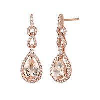 Morganite & 1/3 ct. tw. Diamond Drop Earrings in 10K Rose Gold