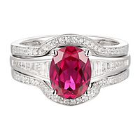 Lab-Created Ruby & White Sapphire Engagement Ring Set in Sterling Silver