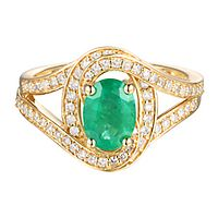 Emerald & 3/8 ct. tw. Diamond Ring in 10K White Gold