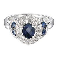 Sapphire & 1/3 ct. tw. Diamond Ring in 10K White Gold