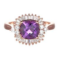 Amethyst & 3/8 ct. tw. Diamond Ring in 10K Rose Gold