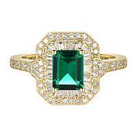 Emerald & 3/8 ct. tw. Diamond Ring in 10K Yellow Gold