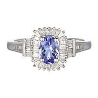 Tanzanite & 1/3 ct. tw. Diamond Ring in 10K White Gold