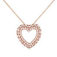 Morganite & 1/5 ct. tw. Diamond Heart Pendant in 10K Rose Gold