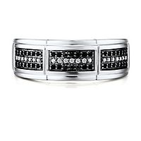 Men's 1/3 ct. tw. Black & White Diamond Ring in 10K White Gold