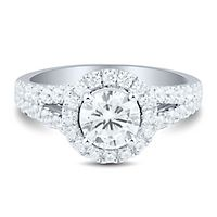 Light Heart™ 1 1/4 ct. tw. Lab Grown Diamond Halo Engagement Ring in 14K White Gold