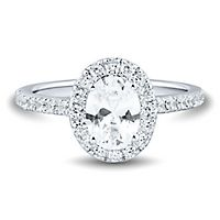 Light Heart™ 1 1/2 ct. tw. Lab Grown Diamond Oval Engagement Ring in 14K White Gold