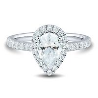 Light Heart™ 1 1/2 ct. tw. Lab Grown Diamond Halo Engagement Ring in 14K White Gold