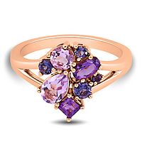 Amethyst & Iolite Ring in 10K Rose Gold