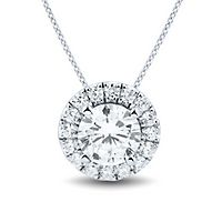 Light Heart™ 1 1/4 ct. tw. Lab Grown Diamond Halo Pendant in 14K White Gold