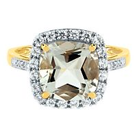Green Amethyst, Lab-Created White Sapphire & Diamond Ring in 10K Yellow Gold