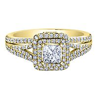 Maple Leaf Diamonds™ 1/2 ct. tw. Diamond Halo Engagement Ring in 18K Yellow Gold