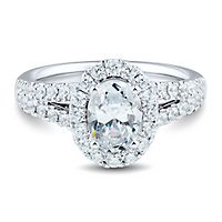 Light Heart™ 2 ct. tw. Lab Grown Diamond Halo Engagement Ring in 14K White Gold
