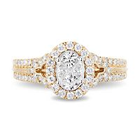 Enchanted Disney Jasmine 1 ct. tw. Multi-Diamond Engagement Ring in 14K Yellow Gold