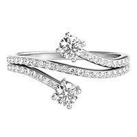 1/2 ct. tw. Diamond Two-Stone Ring in 14K White Gold