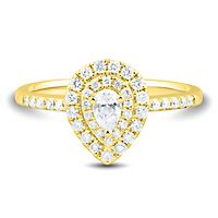 1/2 ct. tw. Diamond Halo Engagement Ring in 14K Yellow Gold
