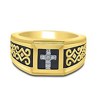 Men's Diamond Cross Ring in 10K Yellow Gold