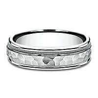Men's Hammer Finish Band in 10K White Gold, 6MM