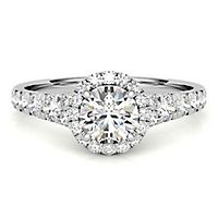 Radiant Star® 1 1/4 ct. tw. Diamond Halo Engagement Ring in 14K White Gold