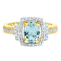Aquamarine & 1/3 ct. tw. Diamond Ring in 10K Yellow Gold