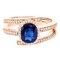 Sapphire & 1/4 ct. tw. Diamond Ring in 10K Rose Gold