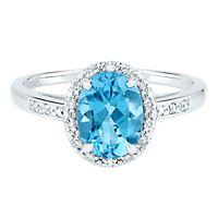 Blue Topaz & Diamond Halo Ring in 14K White Gold