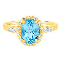 Blue Topaz & Diamond Halo Ring in 14K Yellow Gold