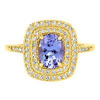 Tanzanite & 1/3 ct. tw. Diamond Ring in 14K Yellow Gold